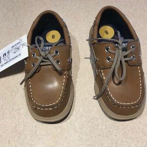 Sperry Whitecap Dark Tan Shoes.  Boys 8M